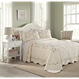 MODERN HEIRLOOM Collection Felisa Cotton Filled Bedspread, Queen, 102 by 118-Inch, Cream