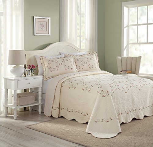 Modern Heirloom Collection Felisa Cotton Filled Bedspread, Queen, 102 by 118-Inch