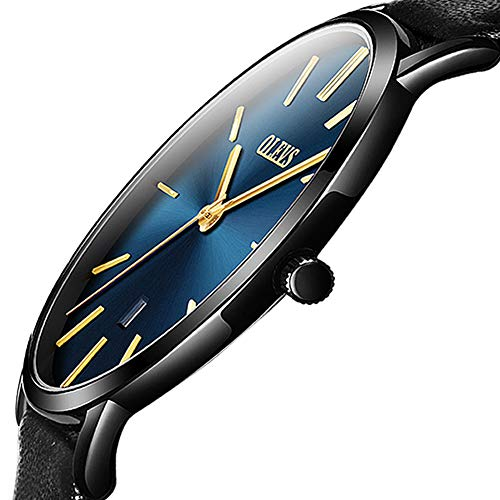 OLEVS Blue Face Mens Watches,Ultra Thin Wrist Watches for Men,Black Leather Slim Thin Men's Watches,Men's Classic Business Quartz Analog Wrist Watch,Minimalist Dress Watch Men with Date