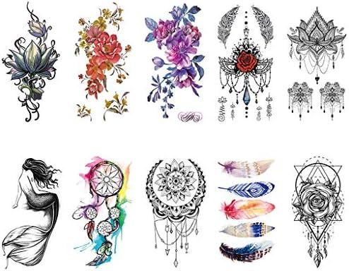 CARGEN® 10 hojas tatuajes temporales flor pétalo tatuaje mandala ...