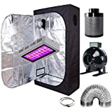 """GreenHouser Garden LED Grow Tent Complete Kit Included 300W LED Grow Light+32""""x32""""x63"""" Grow Tent/Room+4"""" Filter Fan Combo for Hydroponic Indoor Plants (300W LED+36""""X20""""X63""""+4"""" Filter Kit)"""