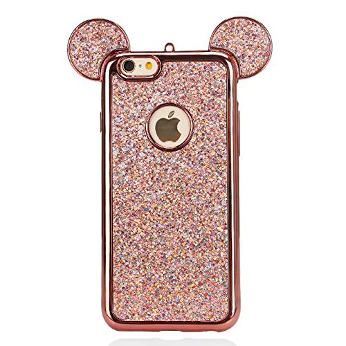 - for iPhone 7 Plus 8 Plus 3D Mouse Ears Case for Woman Girls Rose Gold Glitter Bling Rhinestone Hard Phone Cover Sparkle Luxury Diamond Silicone Protecive Case for Apple iPhone 7 Plus 8 Plus 5.5''