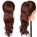 S-noilite Wrap Around on Ponytail Clip in Hair Extensions Human Made Real Natural Synthetic Hairpiece for Women 29 Style Available(17'-curly dark auburn)