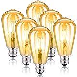 Kohree Led Edison Bulbs Vintage LED Light Bulbs 4W Dimmable Filament Light Bulb, E26 2300K Amber Warm White, 40W Equivalent, Antique Style, Elegant Amber Tinted Lens (6-Pack)
