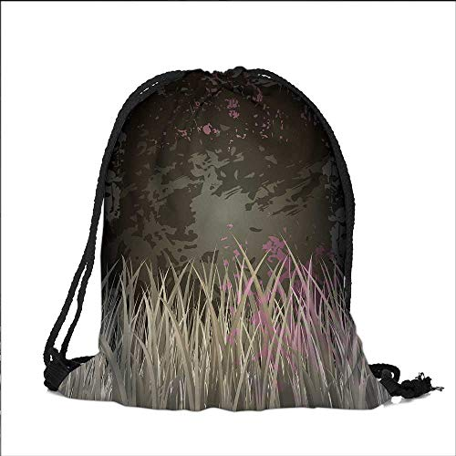 Pocket Drawstring Bag Antique Old Planks American Style Western Rustic Wooden with thick growth of grass Backpack Student Bag 13.5