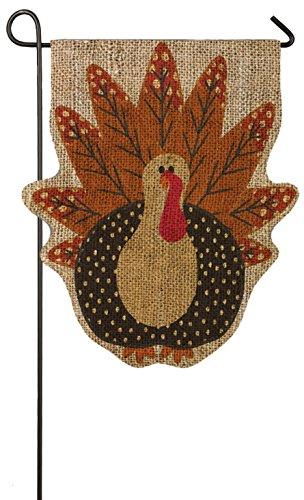 "Time Turkey (Evergreen Turkey Time Sculpted Double-Sided Burlap Garden Flag - 12.5""W x 18"