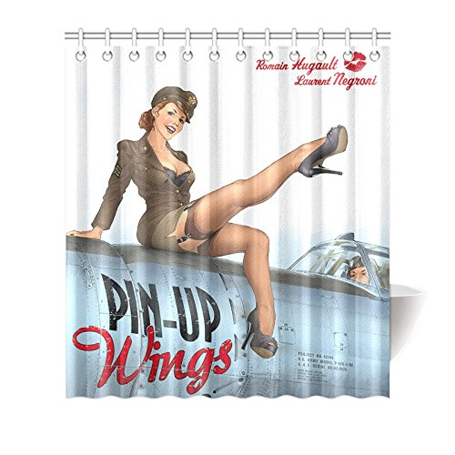 (CTIGERS Shower Curtain Military Pin Up Girl Wings Air Force Polyester Fabric Bathroom Decoration 66 x 72 Inch)