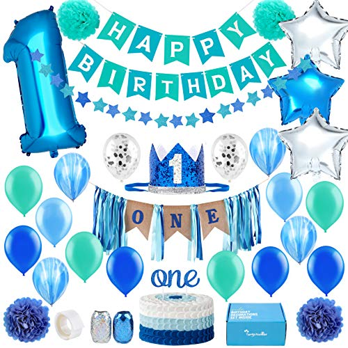 Baby 1st Birthday Boy Decorations - First Birthday Decorations Boy - High Chair ONE Burlap Decorations in Star Theme| Cake Smash Party Supplies - First Royal Prince Crown, First Birthday Banners, Number One Balloon, Star Foil and Latex Balloons, ONE Cake Topper, Star Garland, Pom Poms and More in Sea Green Blue Silver One Year Old Set