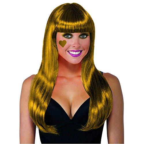 Forum Novelties Color Line Long Wig W/Tinsel W, Gold - Long Tinsel Wig