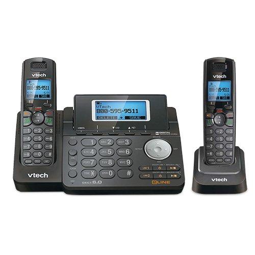 VTech DS6151-11 DECT 6.0 2-Line Expandable Cordless Phone + (1) DS6101-11 Accessory Handset, Black (System Digital Accessory Phone Cordless)