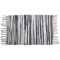 Easychan Handmade Cotton Stripe Rag Area Rugs for Kitchen, Bathroom, Entry Way, Laundry Room (3 x 5, Gray)