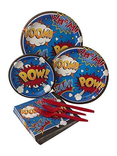 Superhero Comics Birthday Party Bundle with Paper Plates, Napkins, and Silverware for 8 Guests (Superhero Themed Party)