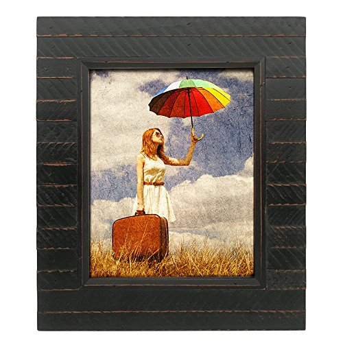 - Eosglac Black 8x10 inch Rustic Picture Frames - Handmade Wooden Plank Photo Frame for Tabletop or Wall Mounting Vertically or Horizontally with Glass Front