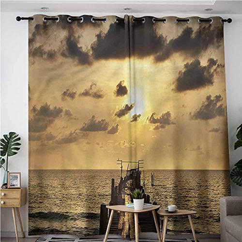AndyTours Simple Curtains,Landscape Wooden Deck Sunset,Energy Efficient, Room Darkening,W84x84L