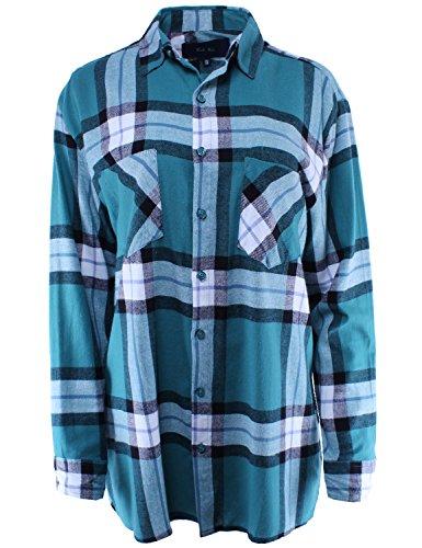 Boyfriend Shirt Flannel Plaid Button Down Teal ONE ()
