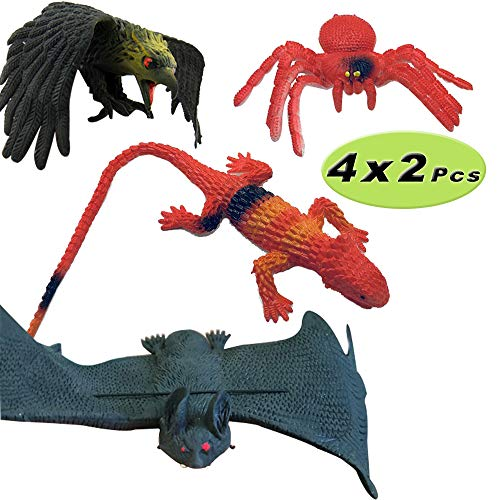 Rubber Toys Bats Spider Lizards Eagle Halloween April Fools Day Prank Props Realistic Plastic Toy Figures Gifts for Children]()