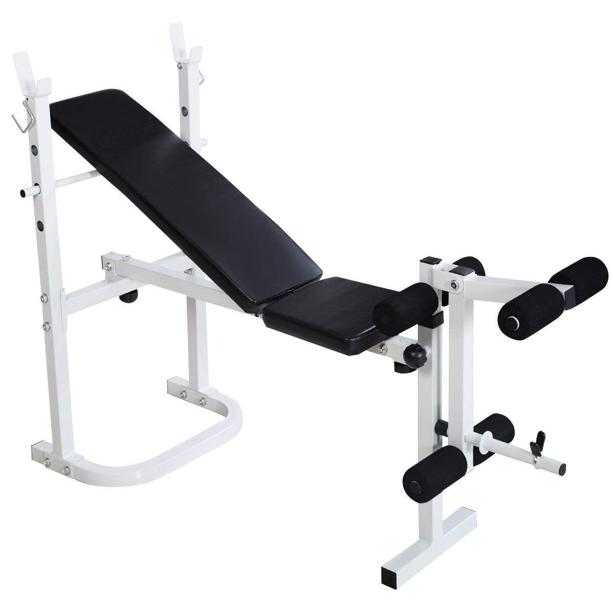Goplus Olympic Weight Bench Adjustable Multi-Purpose Folding Incline Exercise Bench Weight Lifting Beach for Full Body Workout (Black)