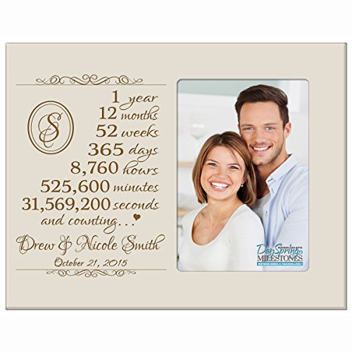Personalized one year anniversary gift for her him couple Custom Engraved wedding gift for husband wife girlfriend boyfriend photo frame holds 4x6 photo by DaySpring International (Ivory)