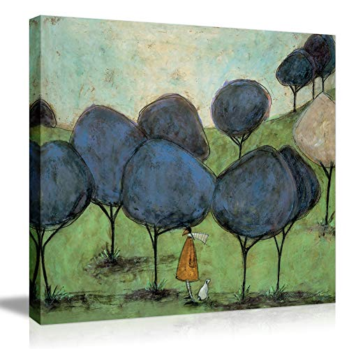 (Picabala Creative Canvas Wall Painting-Dog Walker Canvas Picture Modern Vintage Landscape Wall Art No Frame Decorative Painting Abstract Rustic Picture -12