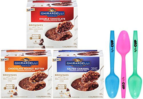 Ghirardelli Premium Microwave Brownie Mug Mix Bundle - Chocolate Peanut Butter, Double Chocolate, Salted Caramel, 4 Servings Per Box - with Set of 3 By The Cup Colorful Spoons