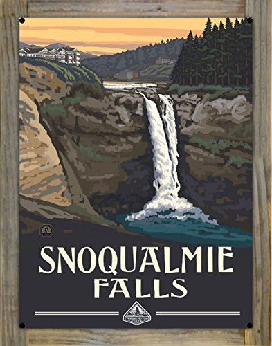 Snoqualmie Falls Washington Metal Print on Reclaimed Barn Wood by Paul A. Lanquist (18
