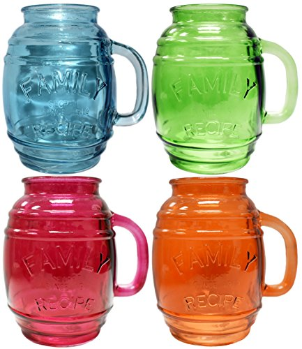 Circleware Family Recipe Glass Barrel Mugs, Set of 4, Assorted Colors, Glassware Drinking Glasses for Bar Liquor, Beer and Beverage Drinks, 26 oz (Glasses Cordial Colored)