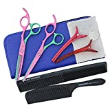 EYX Formula SET of Professional Japanese Stainless Steel Razor Edge Colorful Barber Shears,6 inches Fingers Ajustment Lenth Hair Thinning &Regular scissors with Comb for Barber