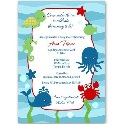 Under the Sea Baby Shower Invitations, Unisex, Red, Blue, Whale, Crab, Fish, Nautical, 10 Custom Printed Invites with White -