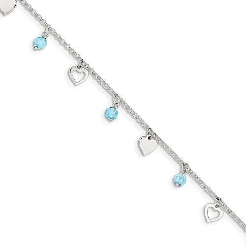 Anklet Adjustable 2 mm 9 in Themed Anklets Jewelry Sterling Silver Polished Heart 1in ext