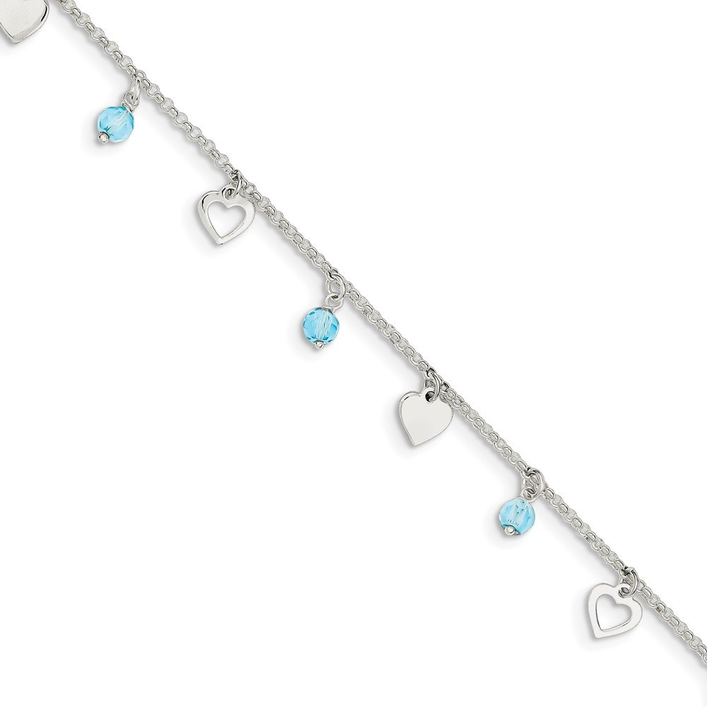 Solid 925 Sterling Silver 9 Polished Heart and Blue Glass with 1in ext. Anklet 9'' - with Secure Lobster Lock Clasp (1.5mm)