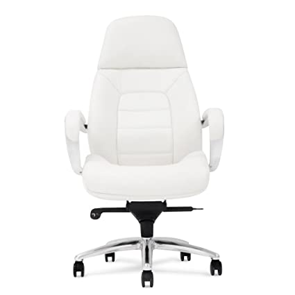 M Gates Genuine Leather Aluminum Base High Back Executive Chair  White