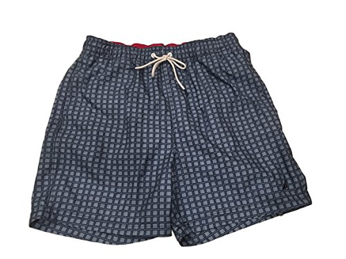 Nautica Mens Quick Dry Swim Trunk Assorted Prints (Medium, True Navy Square)