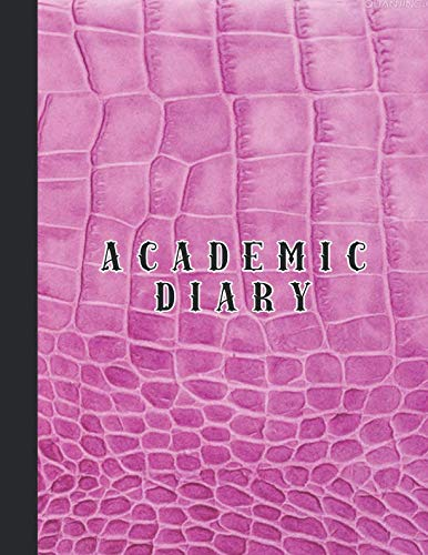 Academic diary: Large page per week academic organizer planner for all your educational organisation - Pink croc leather effect cover - Croc Desktop