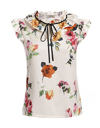 [Bluetime Women's Vintage Casual V Neck Ruffled Sleeveless Floral Print Blouse Shirt Tops (L, White)] (Floral Ruffle Top)