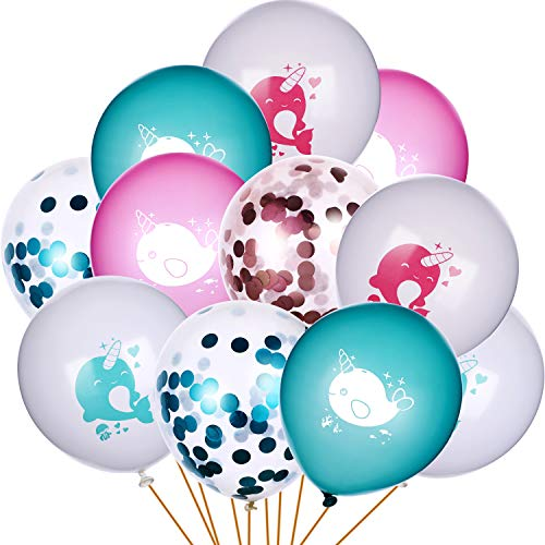 Norme 30 Pieces Birthday Narwhal Balloons Blue and Pink Balloon with Narwhal Pattern Confetti Balloons for Baby Shower Party Favors (Narwhal Baby Shower)