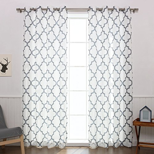 Panel Outline Blue (Aurora Home Moroccan Outline Curtain Panel (Set of 2) Grey 108 Inches 108 Inches)