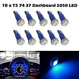 Partsam 10PCS Blue PC74 73 5050 SMD Instrument Panel LED Light Dashboard Gauge Indicator Bulbs with Twist Socket