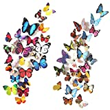 #10: Heansun 80 PCS Wall Decal Butterfly, Wall Sticker Decals for Room Home Nursery Decor