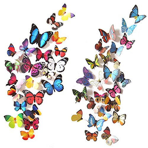 Heansun 80 PCS Wall Decal Butterfly, Wall Sticker Decals for Room Home Nursery ()