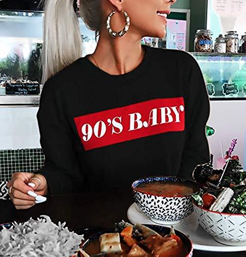 Sudaderas Qinch Larga Redondo Size Carta Para Casual Especiales color Pullover Elástico S Black Tops Cuello Suéter Otoño Estilo Manga Estampado Gray Mujer 004x6qwr