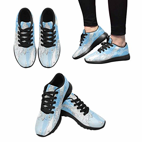 InterestPrint Womens Jogging Running Sneaker Lightweight Go Easy Walking Comfort Sports Running Shoes World Road Map With LABELING Multi 1 4AxQCAO