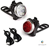 sproutgram USB Rechargeable Bike Light Set: Super Bright Water Resistant Bicycle Light Set with Rear Bike Light Included for Safety, Includes 2 Straps and 2 USB Chargers