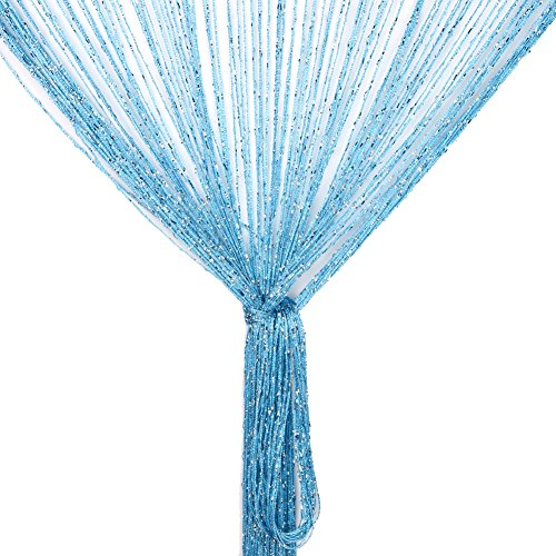 Fringe Panel (String Curtain Panel, Glitter Door Wall Window Doorways Panel Fly Screen Fringe Room Divider Blinds, Decorative Tassel Ribbon Strip Silver Screen for Living room, Bedroom, Party Events (Blue))