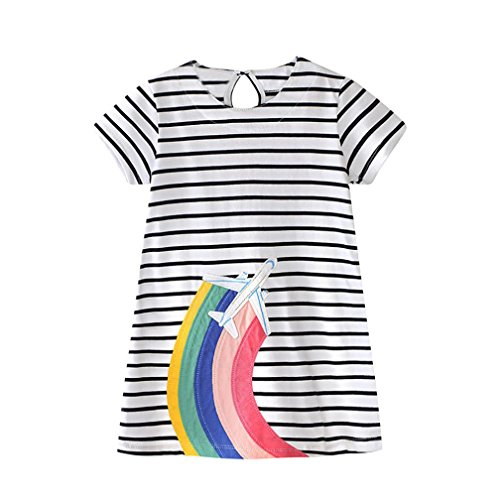 Vincent&July Toddler Baby Girls Summer Rainbow Stripe Dress O-Neck Or Lapel Clothes (3T(2-3Years Old), White)