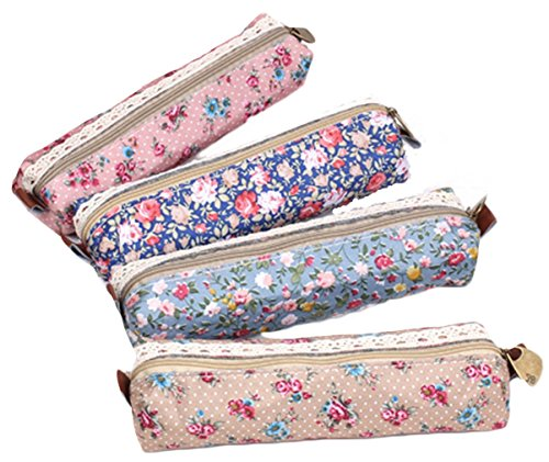 iSuperb Pencil Case 4PCS Differently-colored Cute Floral Pou