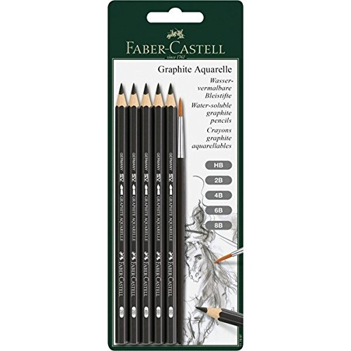 Pencil Aquarelle Set - Faber-Castell Graphite Aquarelle Water-soluble Pencils assorted set of 5 with brush,Grey