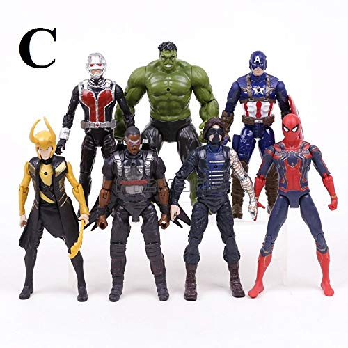 PAPWELL Set 10 Avengers Action Figures 6.7 inch Hot Toys Marvel Legends Thanos Hulk Iron Man Captain America Hulkbuster Thor Spiderman Antman Vision Falcon Wasp Winter Soldier Figure (Set A (7 pcs))