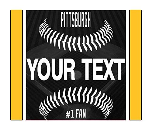 BleuReign(TM) Personalized Custom Name Baseball Pittsburgh License Plate Square Refrigerator Fridge Magnet (Pittsburgh Pirates Baseball Square)