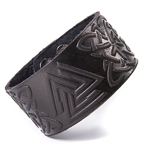 "Real Leather Viking Valknut Bracelet 7.8""-8.5"" Wrist Adjustable Black Cuff Wrap Punk Wristband Stylish Accessory Gift Box from NOVA Leather Craft"