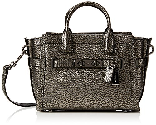 Bronze Pebbled Leather - Coach Pebbled Coach Swagger 15 (Gunmetal)